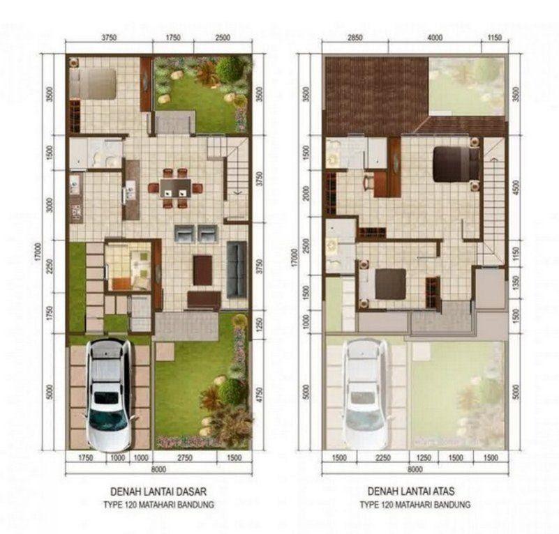 Denah Rumah Ukuran 9x9 M 1 2 Lantai 3 | Denah Rumah, Desain Rumah, Rumah