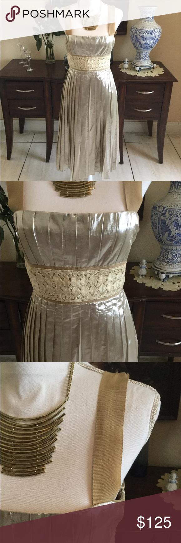 Malandrino cream and gold pleated dress my posh picks