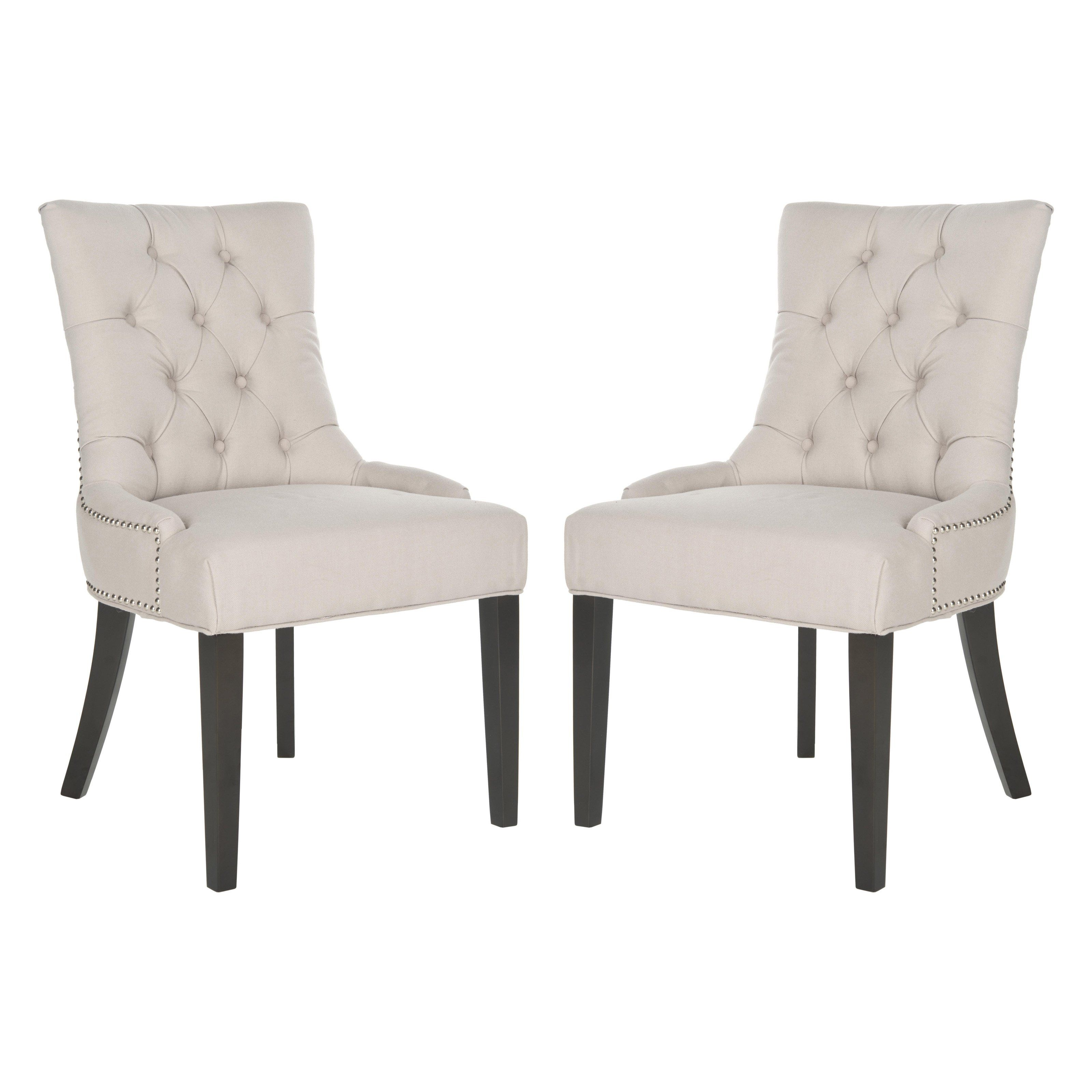 Safavieh Harlow Tufted Linen Ring Dining Chairs
