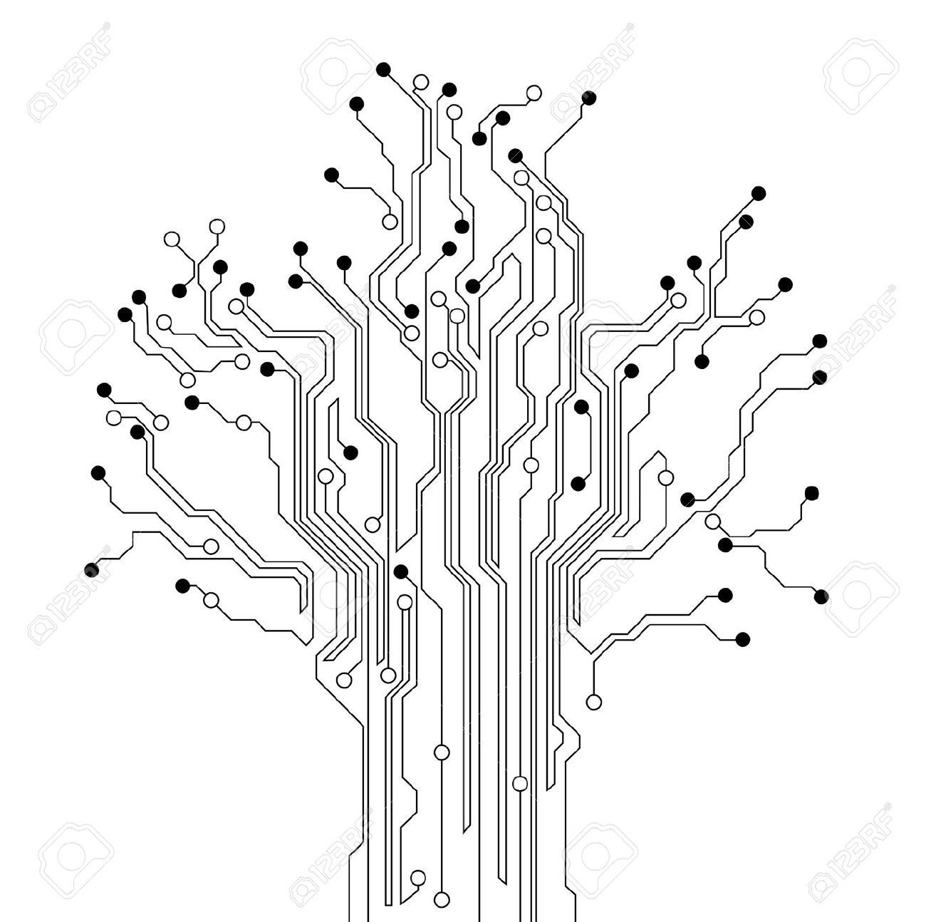 Circuit Board Tree Background Stock Vector