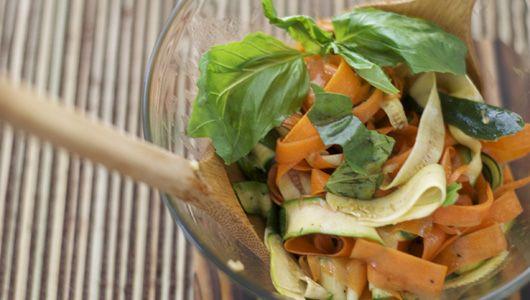 Recipe: Ribbon Carrot and Zucchini Salad with Basil #recipe #salad