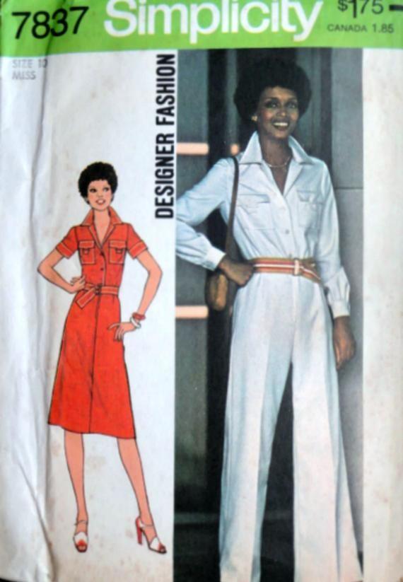 e60be489cc784 Vintage 70 s Simplicity 7387 Designer Fashion Sewing Pattern Misses   Jumpsuit   Dress Size 10 32 1 2 Bust Uncut FF Retro Disco 1970 s