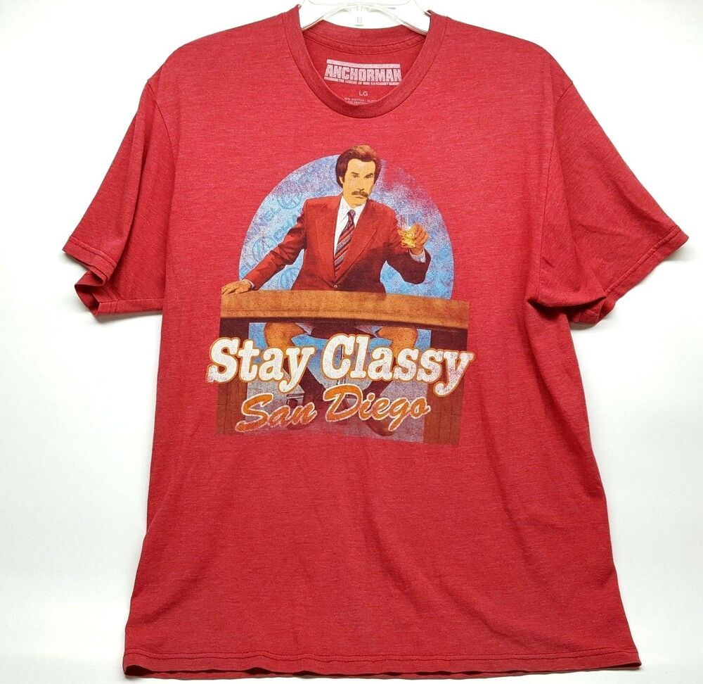 Anchorman The Legend Of Ron Burgundy Size Large Tee Shirt Red