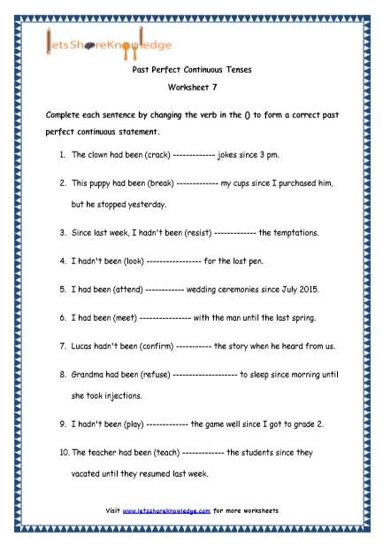 past perfect continuous tense worksheet pdf Google