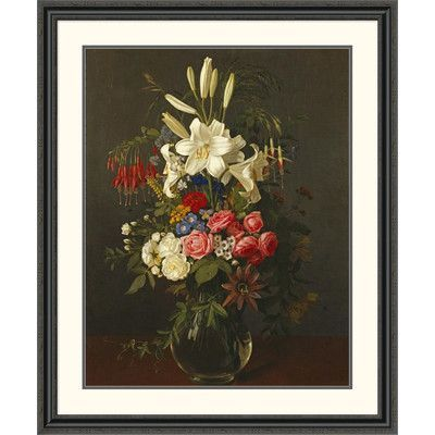 """Global Gallery 'Lilies, Roses, Passion Flowers' by Otto Diderich Ottesen Framed Painting Print Size: 46"""" H x 38.24"""" W x 1.5"""" D"""