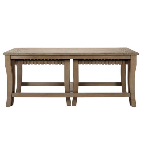 Sasha Coffee Table w/ Leather Woven Stools Coffee Tables