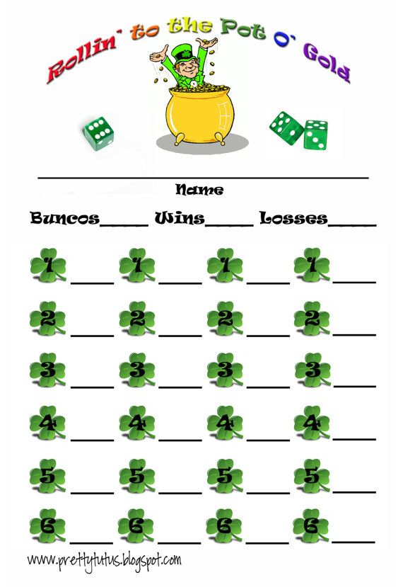 St PatrickS Day Bunco Score Sheet  Scores Saints And Bunco Ideas