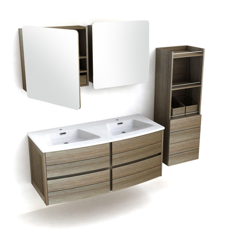 Ensemble Meuble Vasque Bois L120cm 2 Armoires De Toilette Colonne Fairway Meuble Vasque Bois Mobilier De Salon Armoire De Toilette