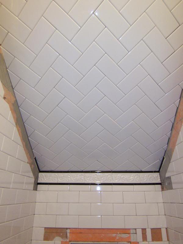 Subway Tile Standard Subway On Walls Herringbone On Ceiling Herringbone Spruce Basement
