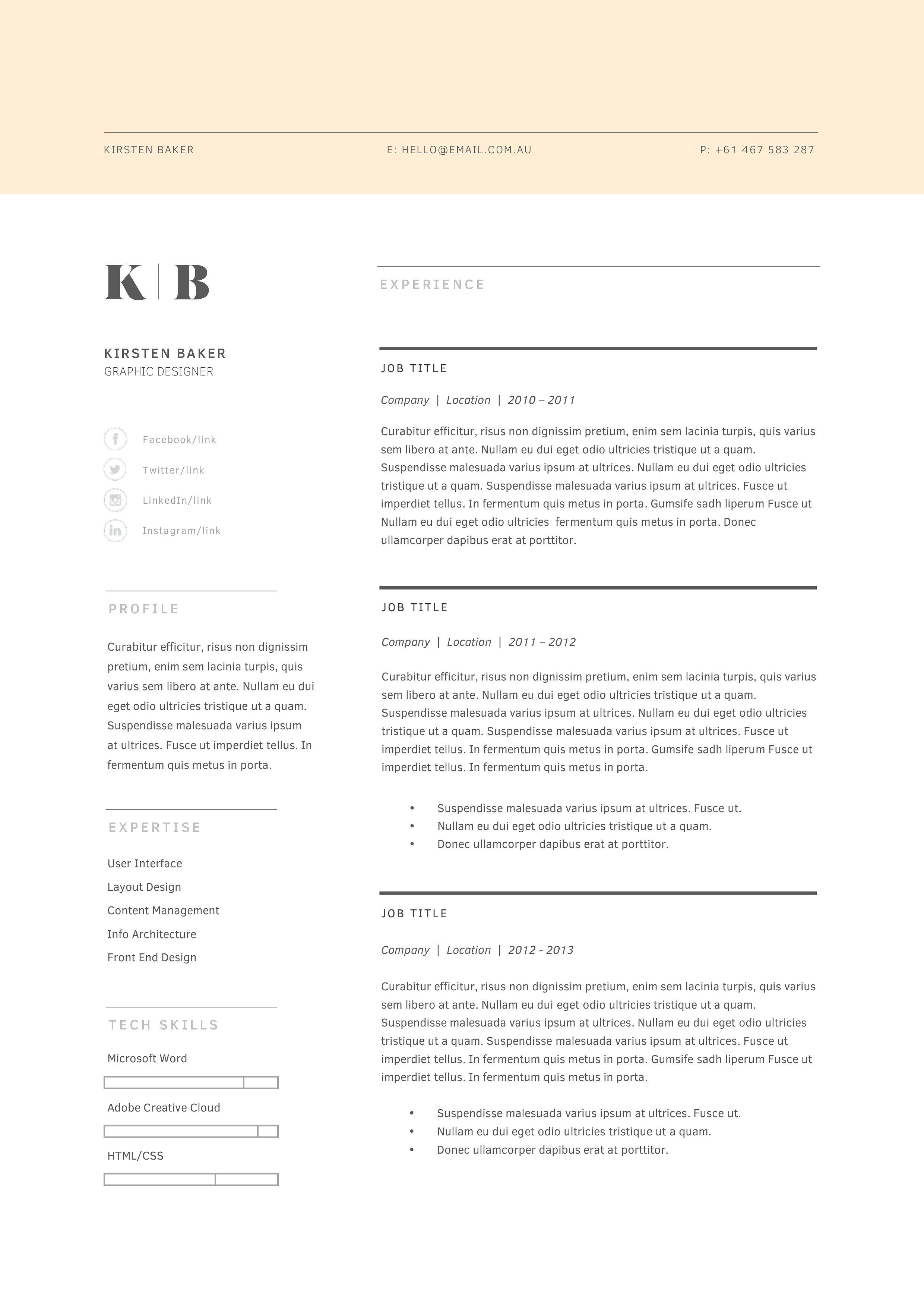 Resume Template  Page  Cv Template  Cv Template And Design Resume