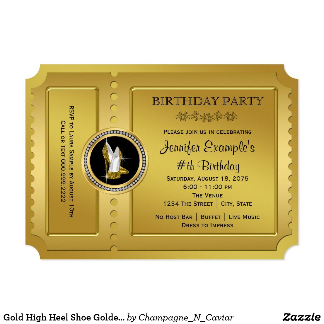 Gold High Heel Shoe Golden Ticket Birthday Party Card Beautiful gold ...