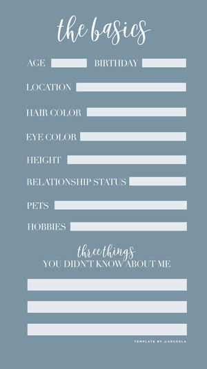 The Basics Questionnaire / Instagram Story Template - Engage with ...