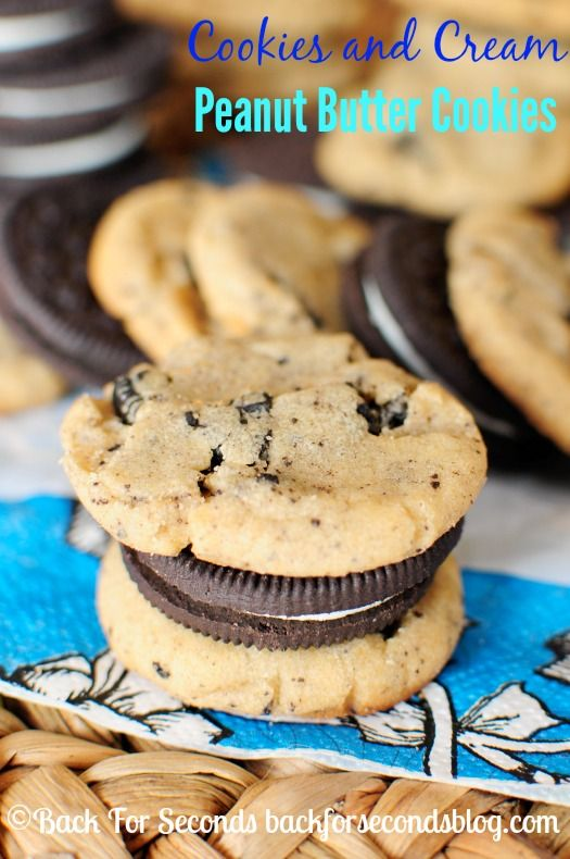 Cookies and Cream Peanut Butter Cookies - Such a yummy flavor combo! http://backforsecondsblog.com #peanutbutter #oreo #cookiesandcream