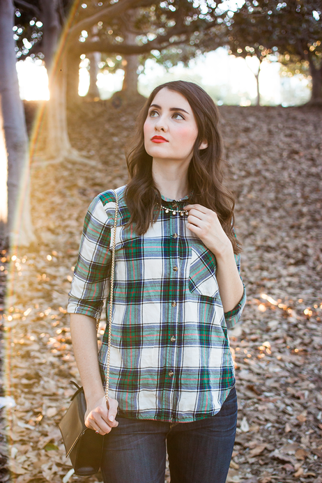 fall style - plaid shirt and statement necklace