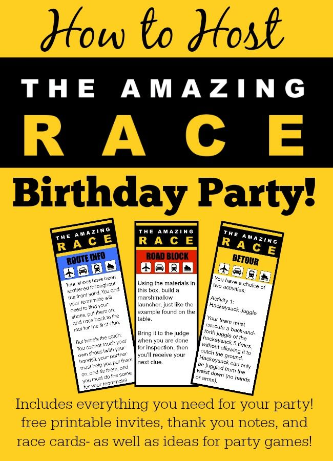 Great 11 Year Old Party Idea The Amazing Race Birthday Party – Diy Girl Birthday Party Invitations