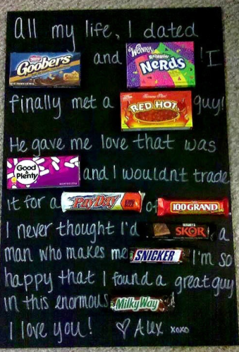"Delicious Valentine's Day Gifts:  Write a Candy Message like the one from DONTPKETHEBEAR.  ""All my life, I dated GOOBERS and NERDS -- I fina..."