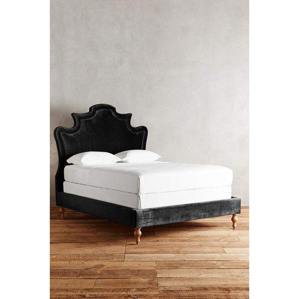 Slub Velvet Ainsworth Bed ($2,598) ❤ liked on Polyvore featuring home, furniture, beds, black, velvet bed, black bed, hand made furniture, black platform bed and black furniture