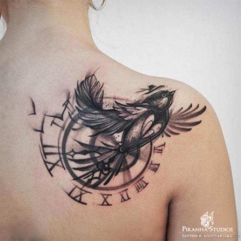 Graceful Bird And Clock Tattoo Tattoo Designs Men Clock Tattoo Bird Tattoos For Women