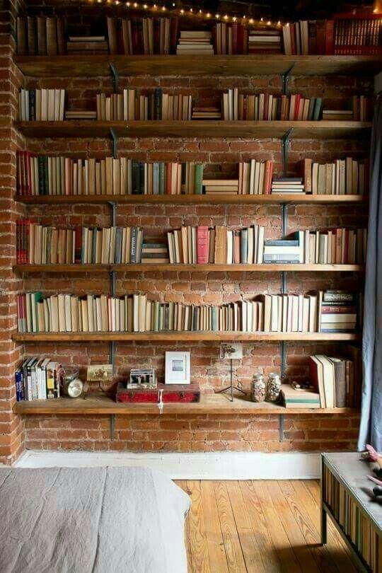 Brick Shelves Wall For Books Wood Bookshelves Book Shelf