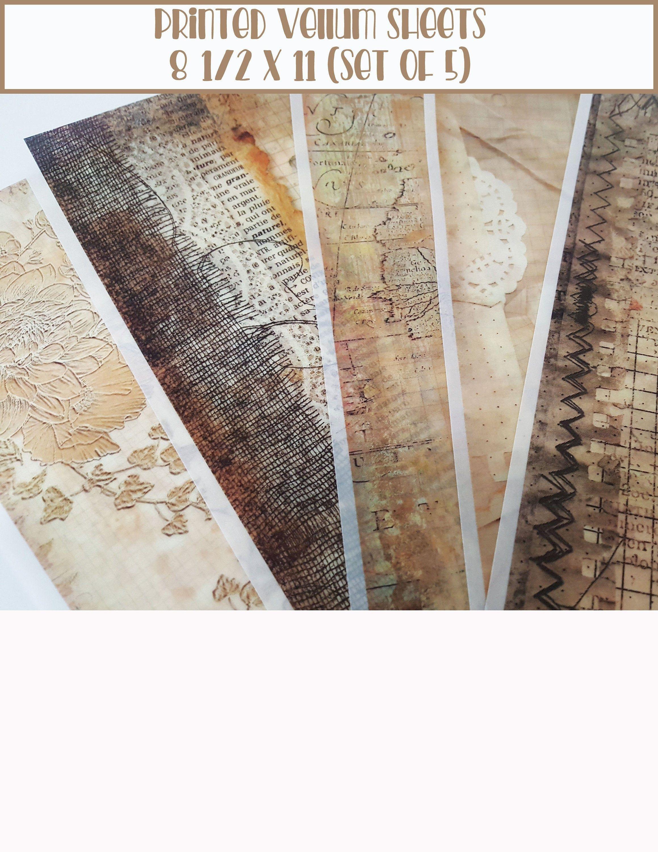 Printed Vellum Sheets Vellum Paper Scrapbook Paper Grunge Etsy In 2020 Vellum Paper Vintage Prints Prints