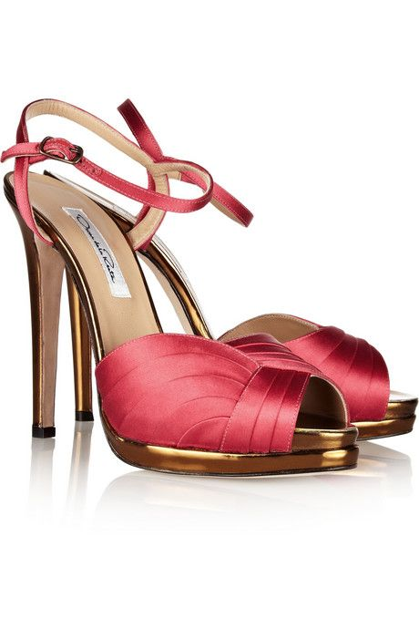 Oscar de la Renta Satin Stiletto Sandals