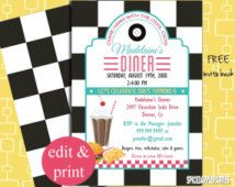 Printable with EDITABLE text you can personalize at home 50/'s Style Retro Customizable Party Pack INSTANT DOWNLOAD