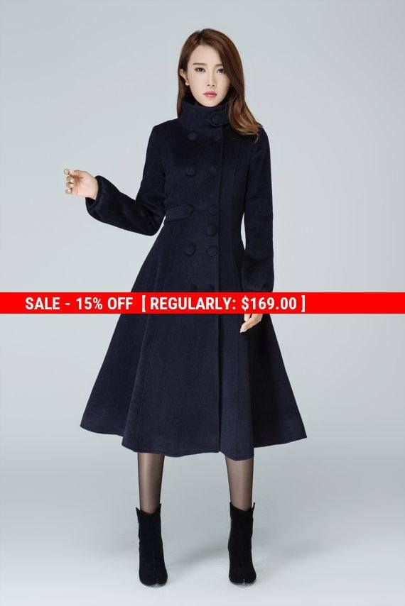 Marineblau Mantel Wollmantel Warmen Wintermantel Etsy Fashion Style Mantel
