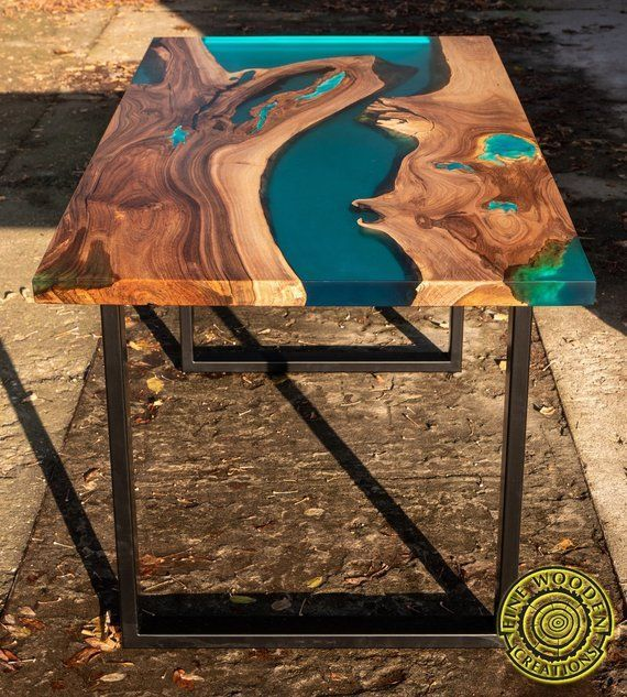Turquoise Resin Dining Table With Glowing Inlay Dining Glowing