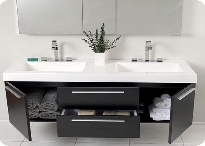 Contemporary Double Floating Bathroom Vanity And Sink Consoles