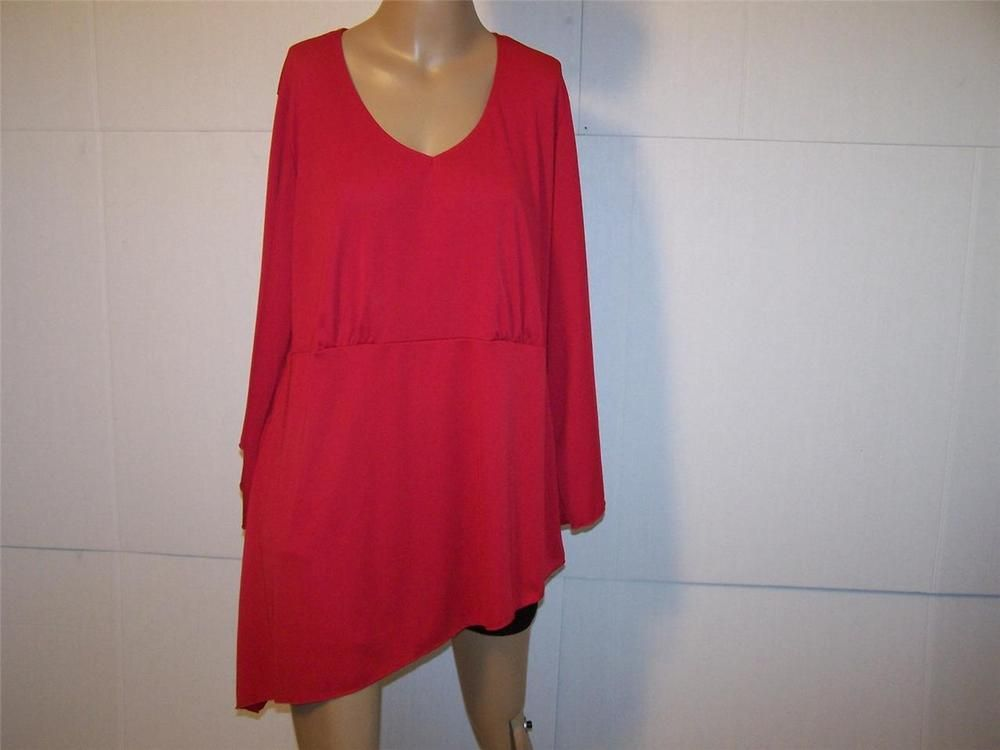 ANTTHONY Tunic Top Plus 1X Red Stretch Asymmetrical 3/4 Sleeves Womens #Antthony #Tunic #Casual
