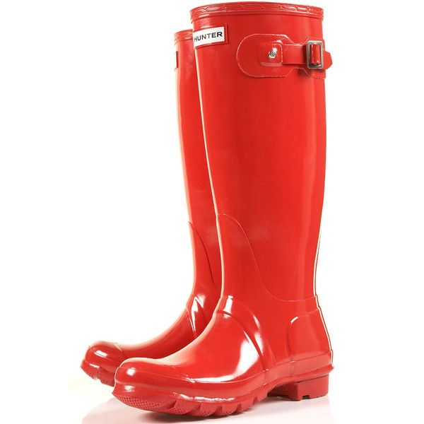 Hunter Original Tall Wellies ($130) ❤ liked on Polyvore featuring shoes, boots, bright red, topshop, red rubber boots, wellies rubber boots, wellington boots, rubber rain boots and red boots