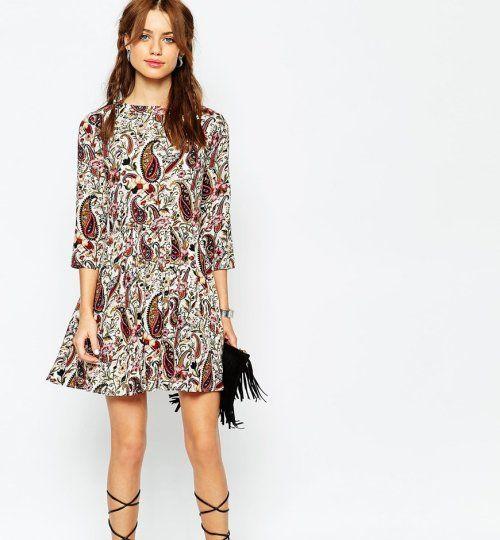 Vestido corto con estampado oriental  