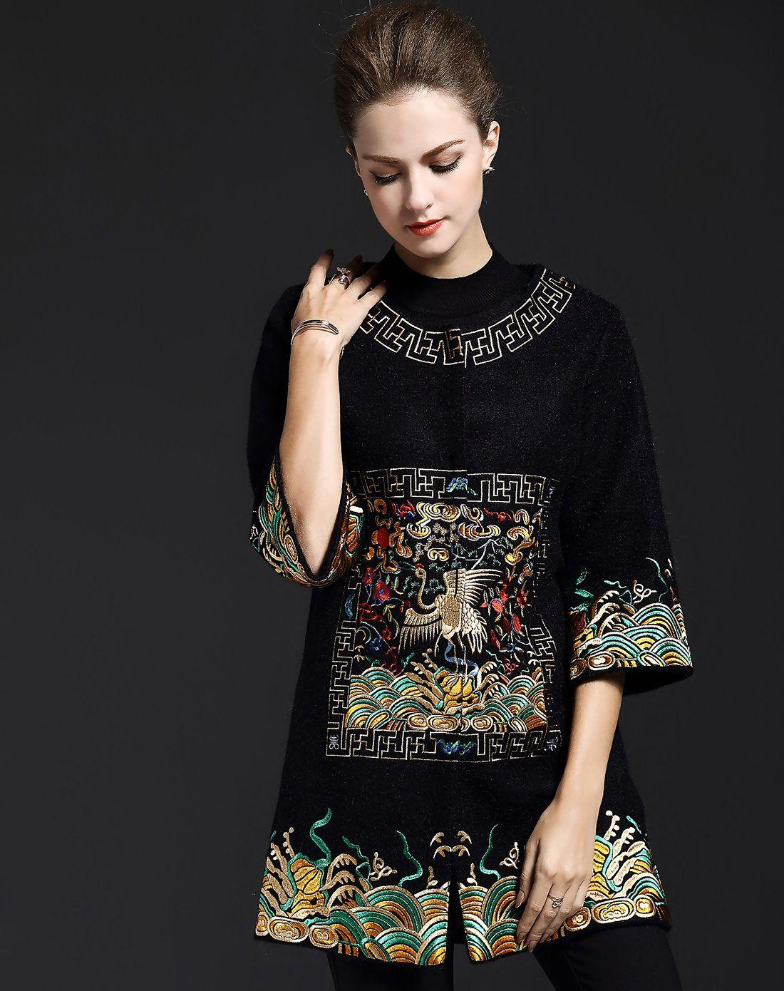 Embroidery sleeve black front open shift woolen coat adorewe