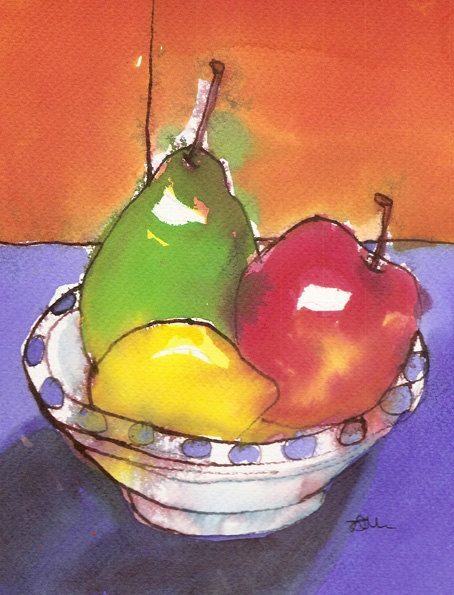 Fruit Still Life Art Print Of Vibrant Watercolour By Tamarrisart
