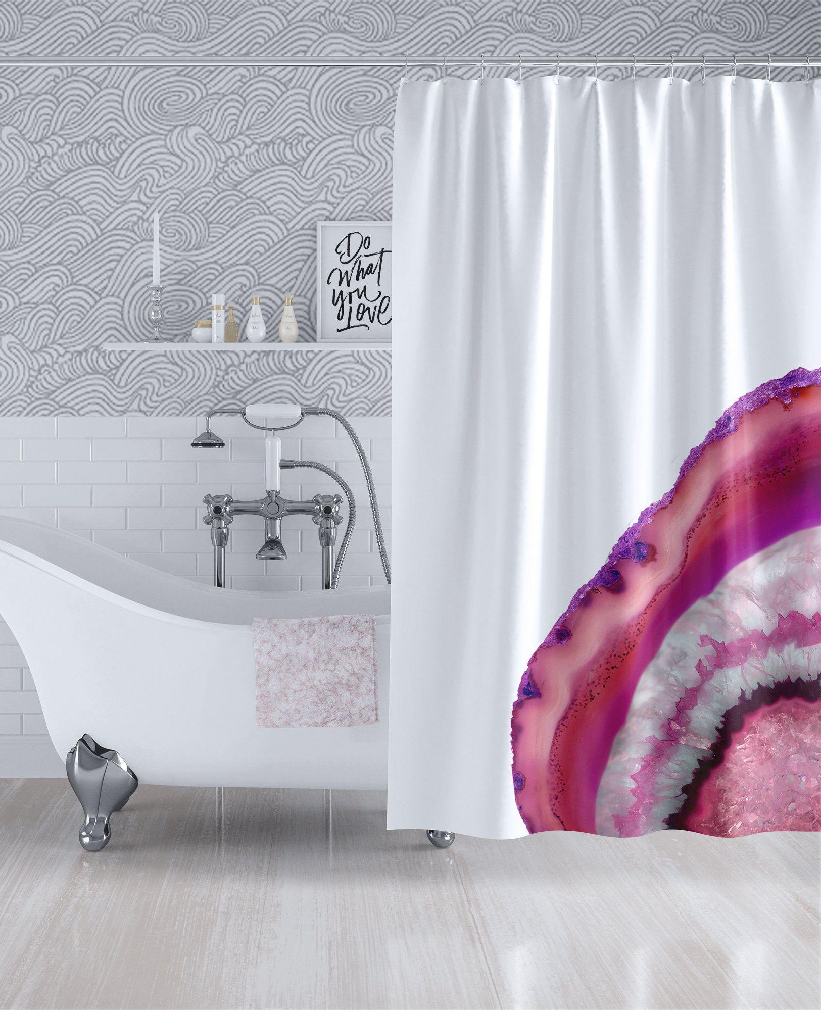 Pink Geode Slice Custom Shower Curtain Agate Stone Fabric Bath Curtain Machine Washable 90x70 83x70 74x71 Custom Shower Curtains Fabric Shower Curtains Modern Curtains