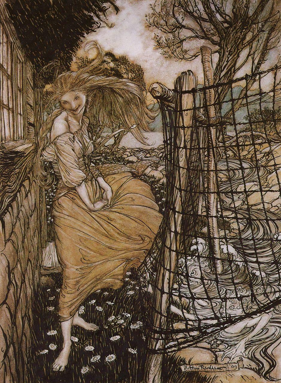 Arthur Rackham Undine Outside The Window Illustration From Undine By Friedrich De La Motte Fouque Arthur Rackham Fairy Tales Fairytale Illustration