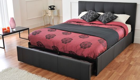 Rialto Double Size Black Faux Leather Bed Frame Flat