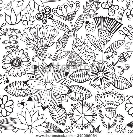 Vector Flower Pattern Black And White Seamless Botanic Texture Detailed Flowers Illustrations All Elements Are Not Cropped Hidden Under Mask