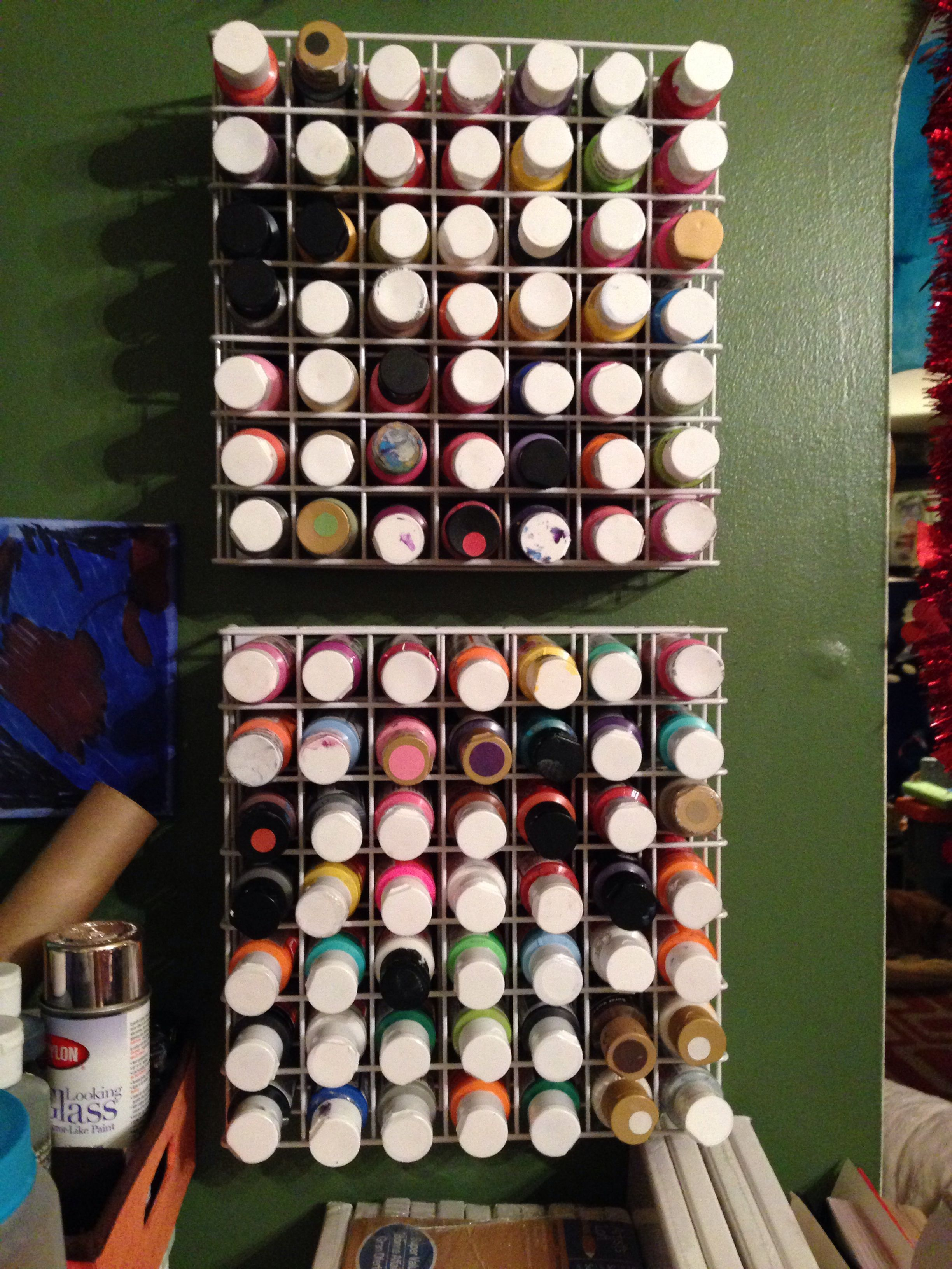 Paint storage in my dining room next to the table... So handy for art time.