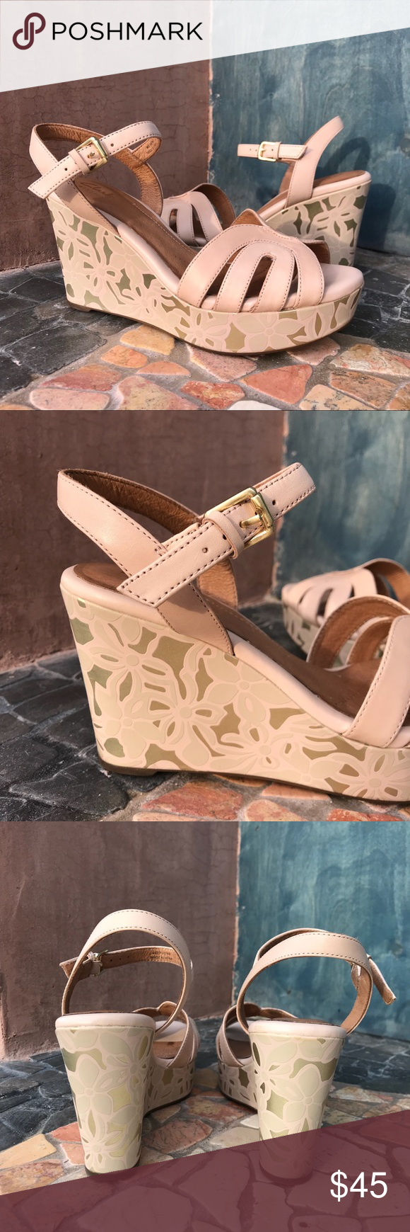 Clarks Artisan Blush Pink Gold Amelia Wedges Gorgeous Clark Artisan Amelia  Wedges with golden accents and. Perfect condition - worn once. size 8.