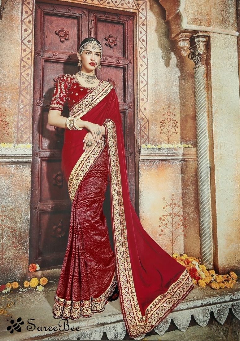 Maroon Embroidered Jacquard Saree With Blouse | Bride Portraits ...