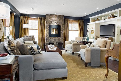 Candice olson blue and gold living room home living room