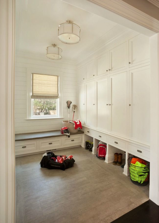 all white mudroom House Tour New Canaan