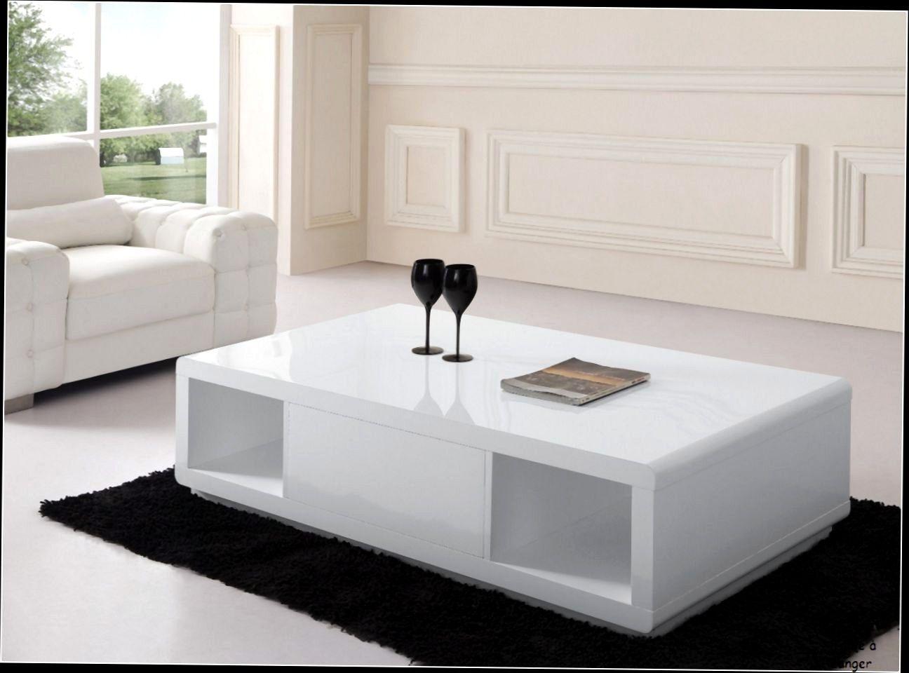 Table De Salon Moderne Avec Tiroir Blance Et Bois  Table de salon