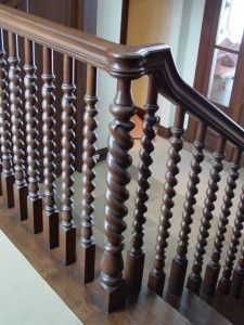 Architectural Wood Turnings » White Oak Barley Twisted Balusters   Barley Twist Stair Spindles   Antique   Square   Victorian   Provincial   41Mm