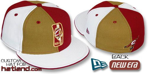 3ed9ecaefff Cavaliers KEY-INSIDER PINWHEEL Gold Burgundy White Fitted Hat on hatland.com