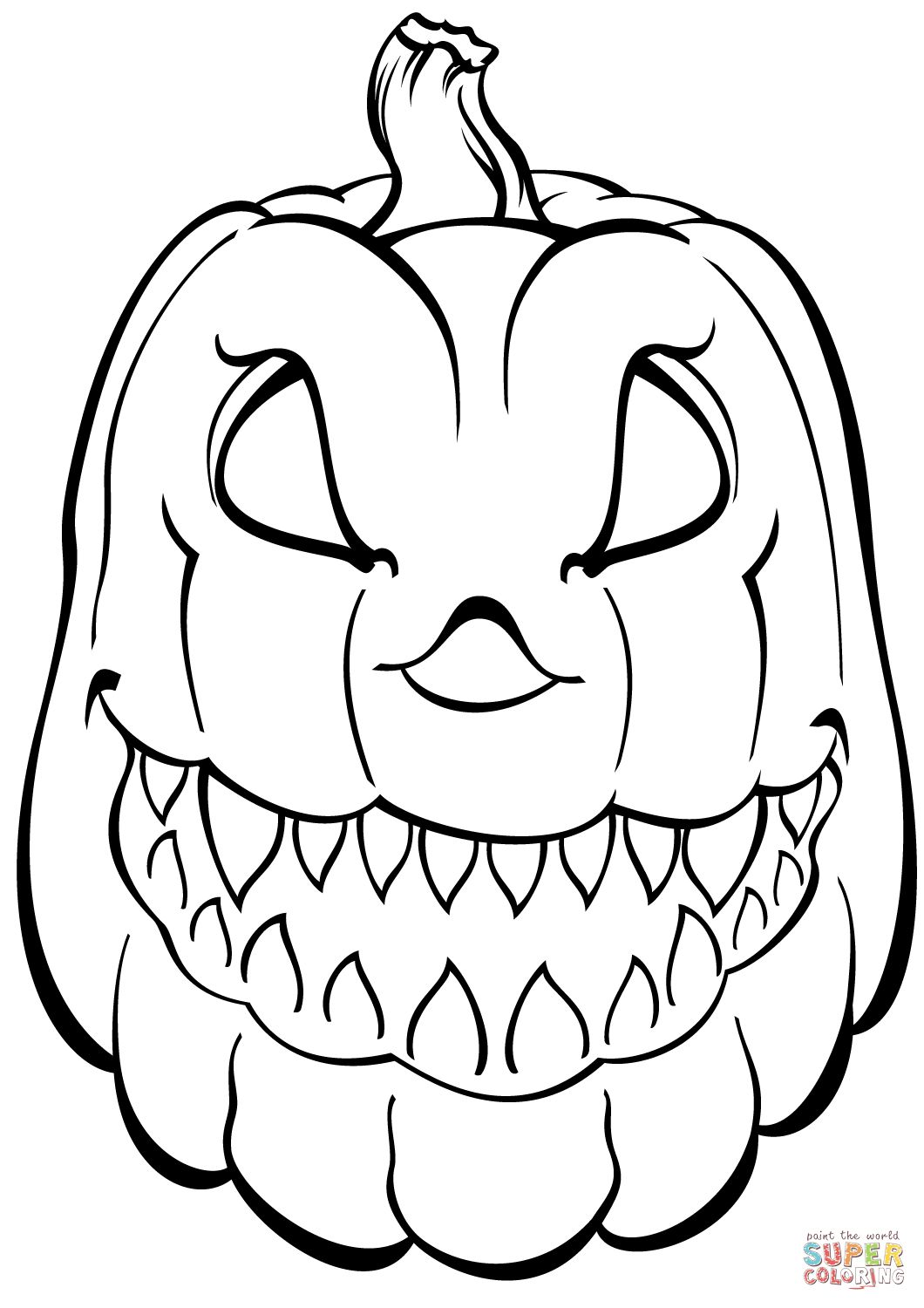 Free Printable Pumpkin Coloring Pages Scary Pumpkin