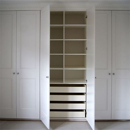 We offer some easy DIY tips on how to construct a basic fitted wardrobe or built-in cupboard using 16mm MDF, and that can be embellished with panels or moulding, routed with a design and then be painted in your choice of colour using water-based acrylic paint.: