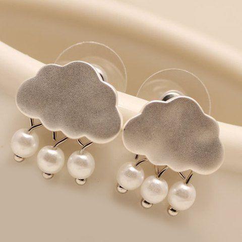 Pair of Adorable Faux Pearl Matte Cloud Shape Earrings For Women