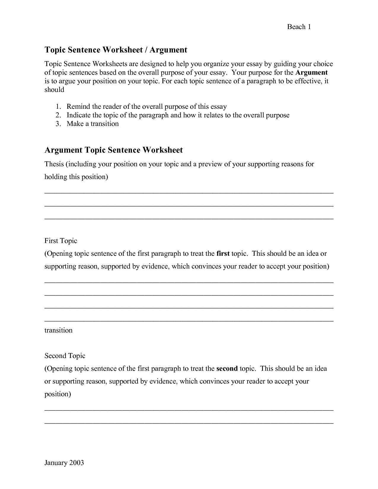 Topic Sentences Worksheets 3rd Grade In